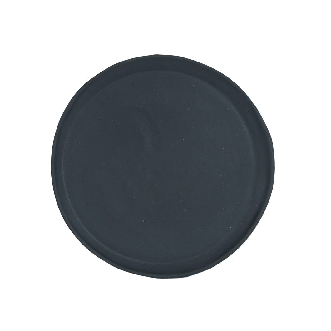 Md Black Matte Plate With Shallow Rim