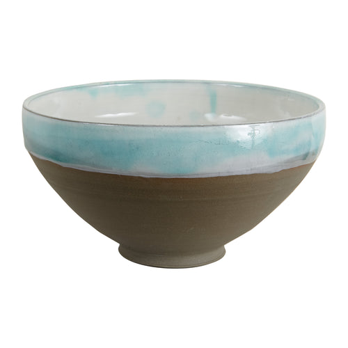 Lg Light Blue Bowl With White Inside And Brown Base
