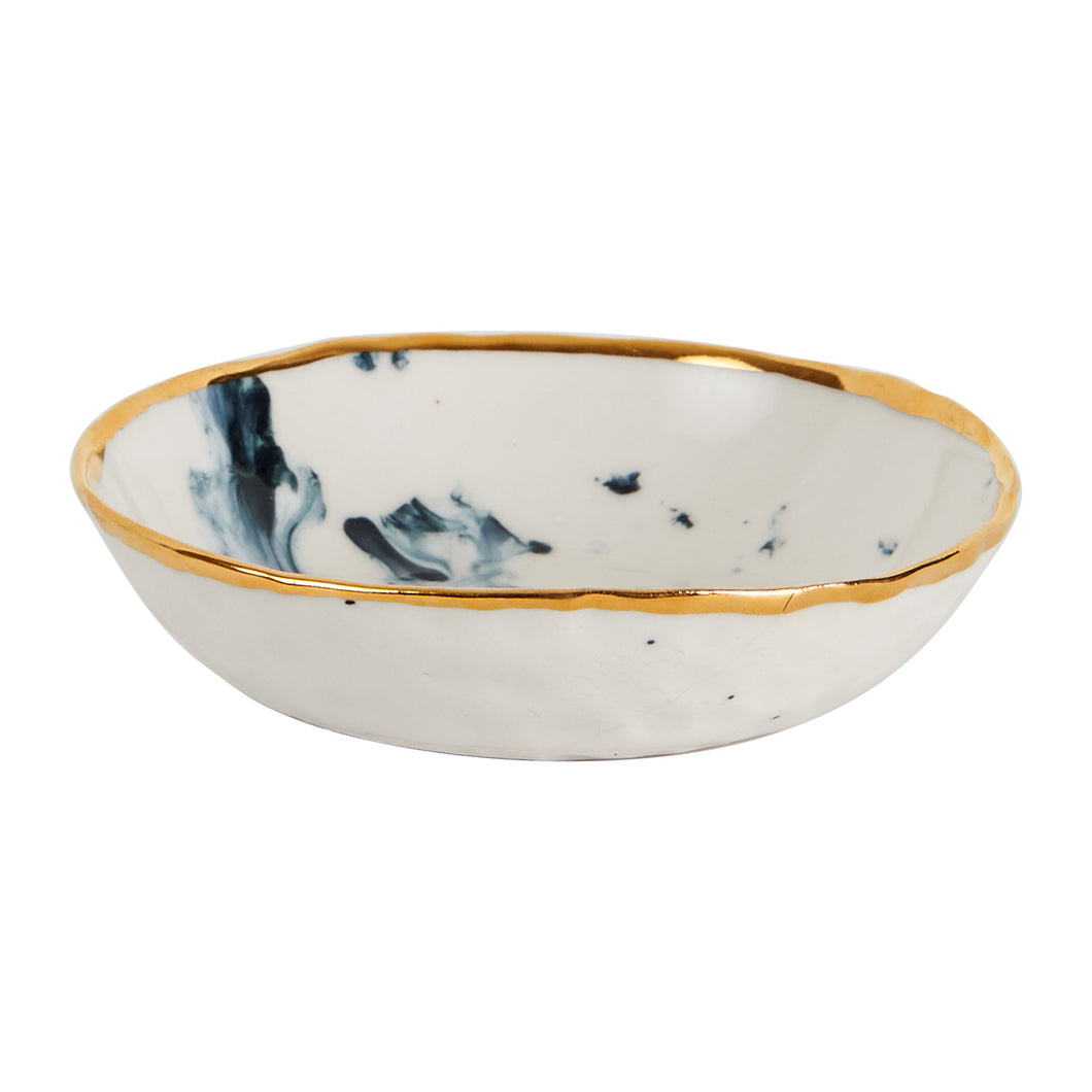 Sm White Bowl With Dark Blue Smoke Pattern And Gold Rim