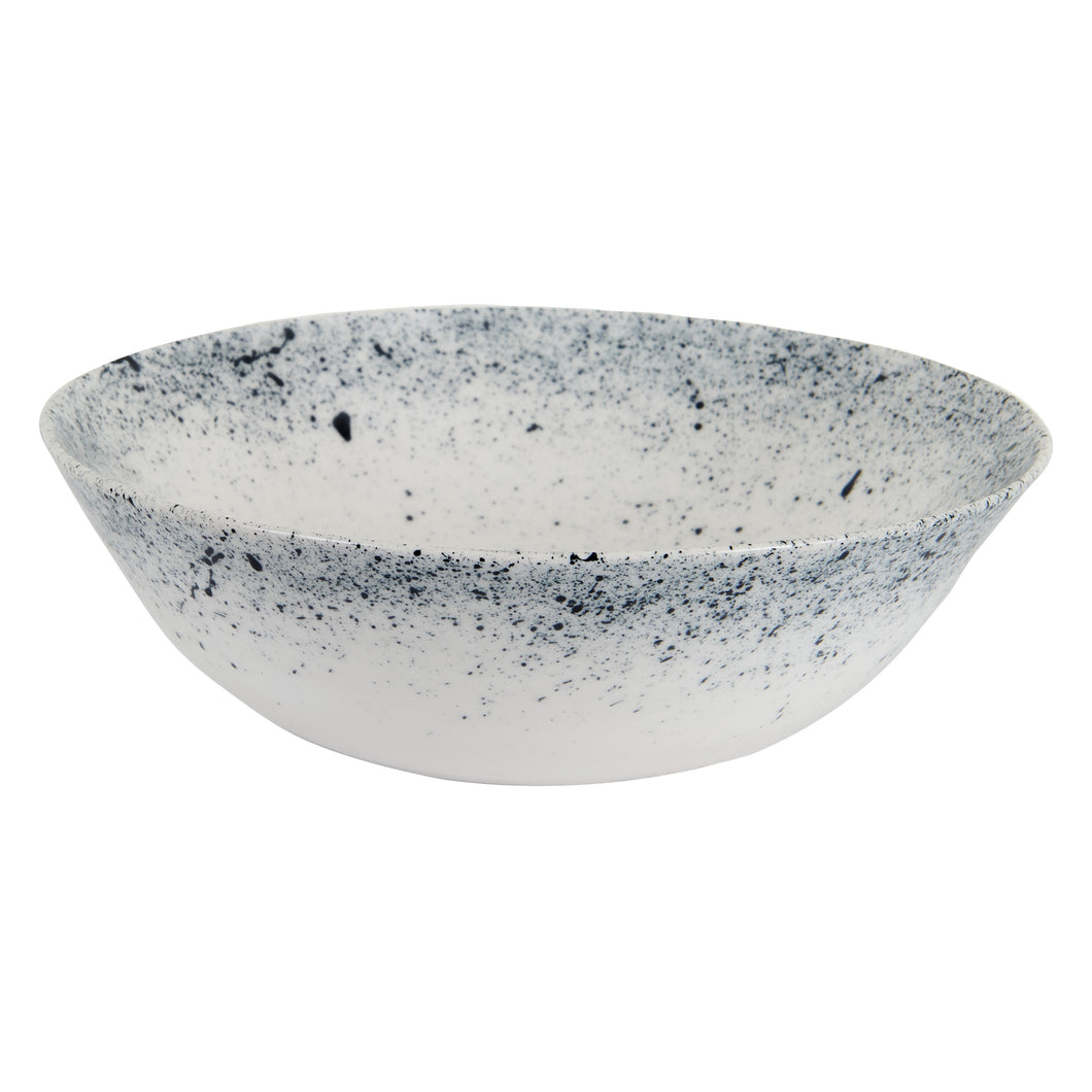 Md White Bowl With Dark Blue Speckles