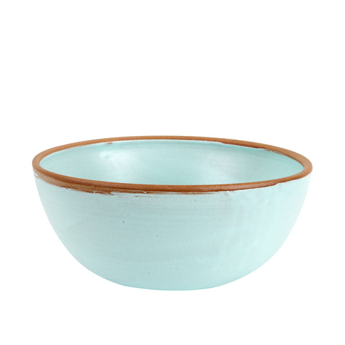 Lg Light Blue Bowl With Brown Rim