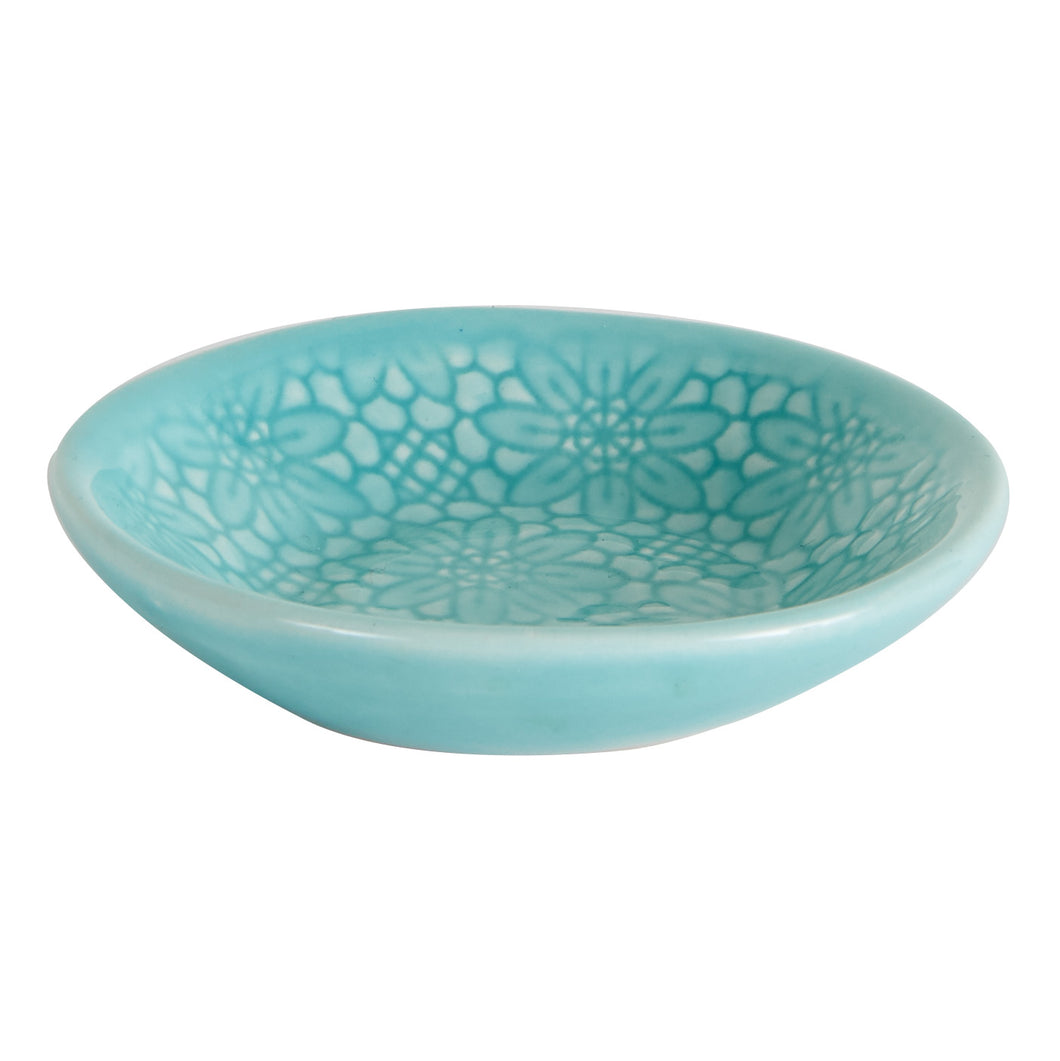 Sm Shallow Blue Dish With Flower Pattern