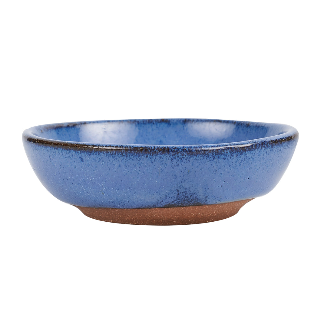 Sm Shallow Blue Bowl With Dark Rim