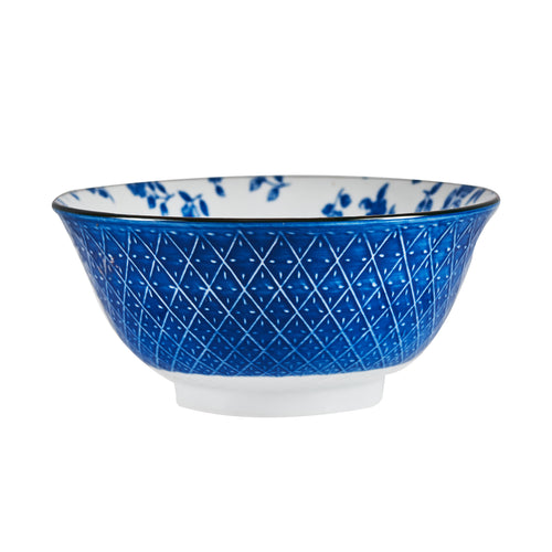 Sm Blue Cross-Hatch Patterned Bowl With Floral Interior