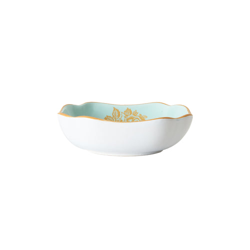 Sm Light Blue Bowl With Gold Pattern and Rim