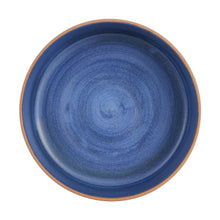 Lg Blue Bowl With Brown Exterior