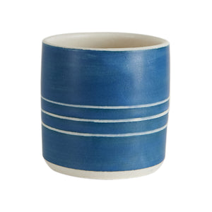 Blue Cup With White Stripes