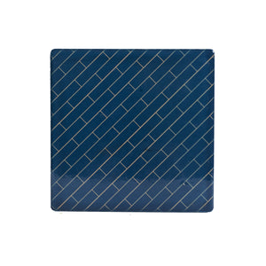 Dark Blue Coaster With Brick Line Design