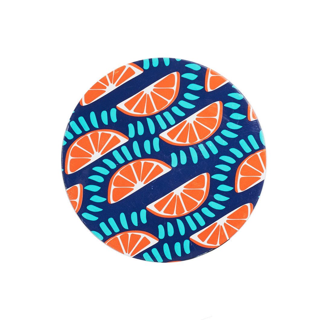 Blue Paper Coaster With Orange Pattern