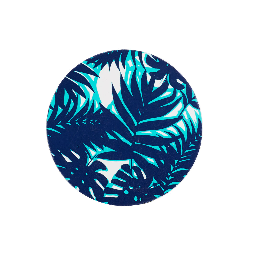 Blue Paper Coaster With Foliage Pattern