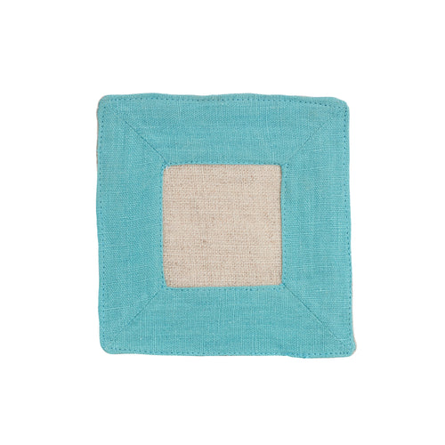 Square Blue Linen Coaster