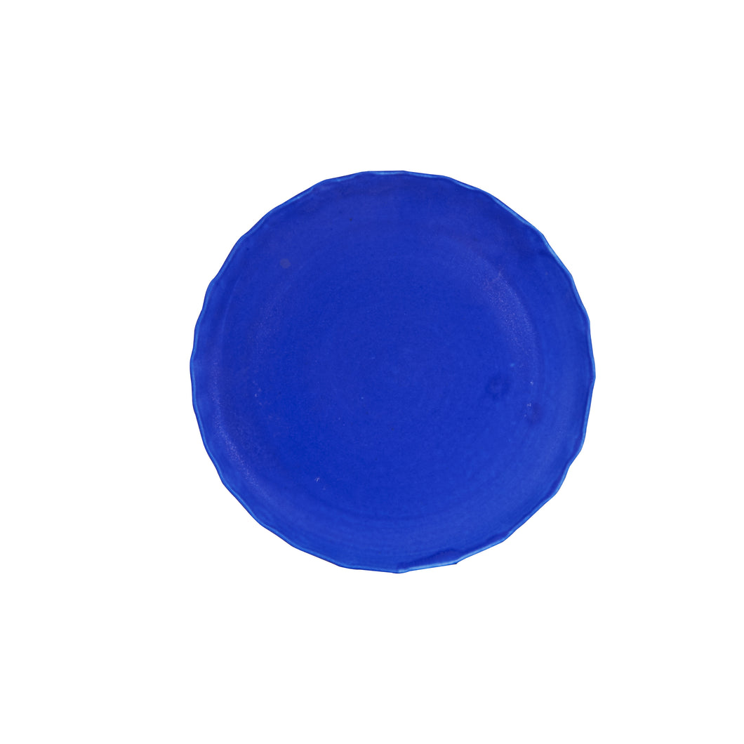 Lg Royal Matte Blue Plate With Wavy Edges