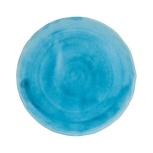 Bright Light Blue Plate With Wavy Edges