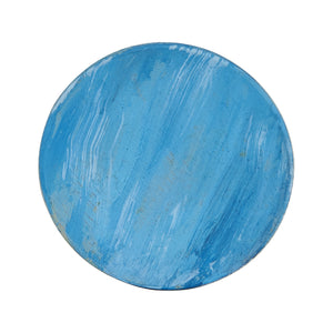 Sm Blue Painted Wood Plate