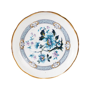 Sm White Plate With Gold Rim And Blue Flower Print