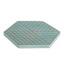 Blue Hexagon Trivet with Gold Design