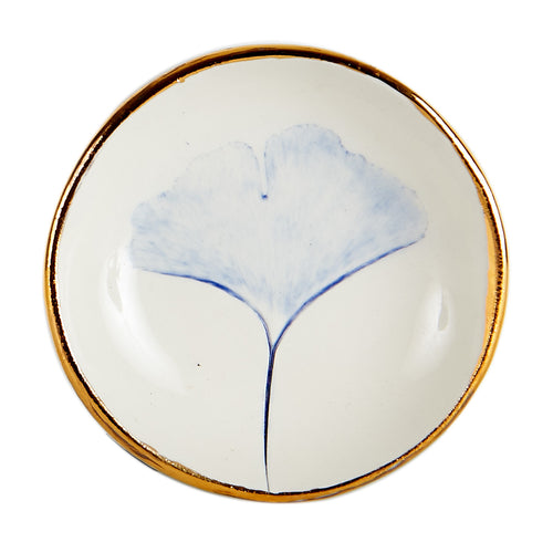 Sm White Dish With Gold Rim And Blue Flower Print