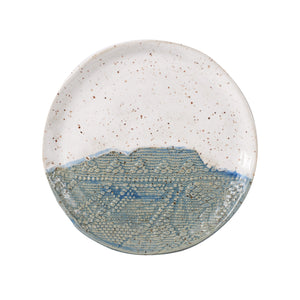 Md White Speckled Plate With Blue/Beige Design