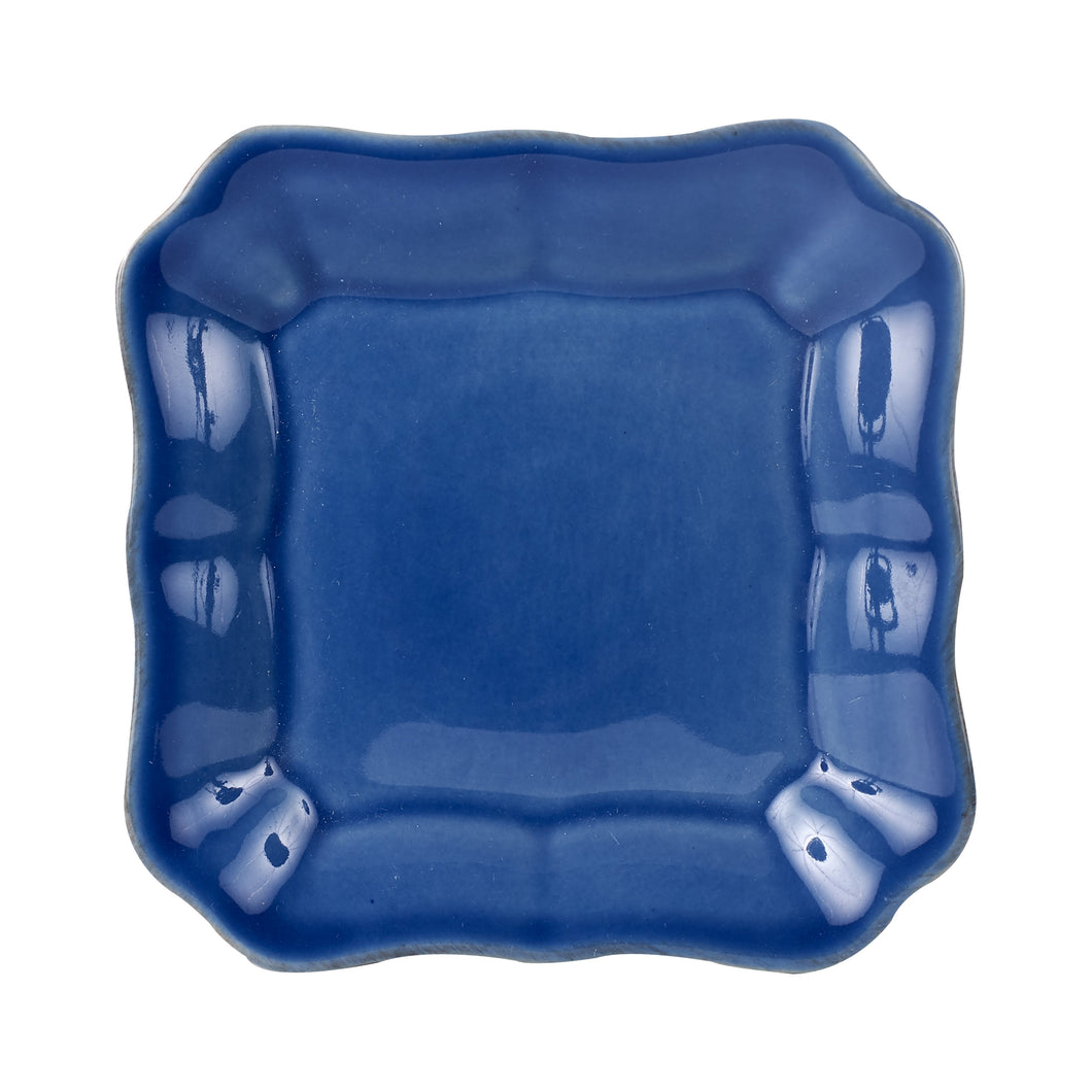 Sm Square Dark Blue Plate With Wavy Edges