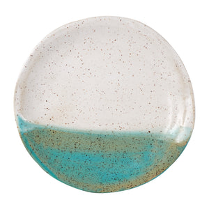 Md White/Teal Speckled Plate