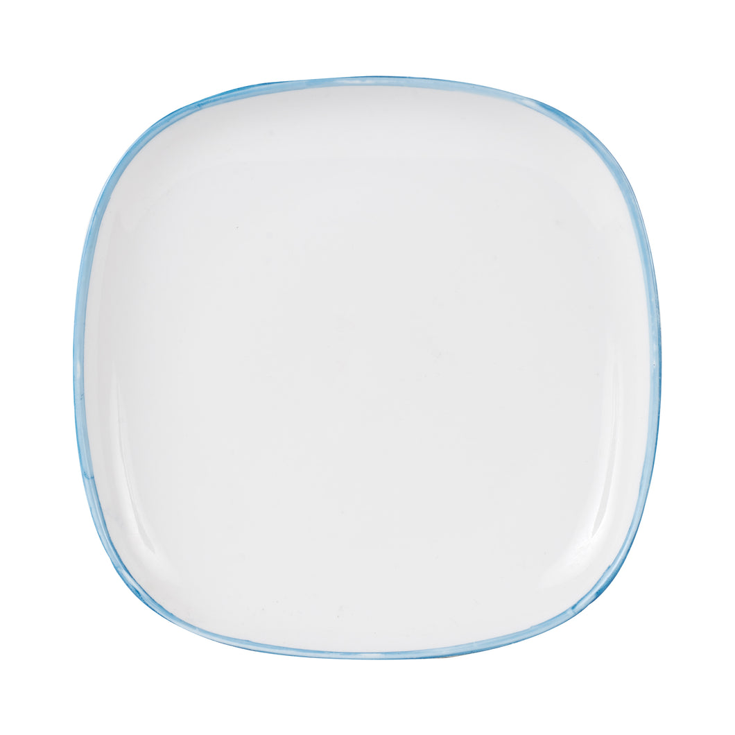 Md White Plate With Blue Rim