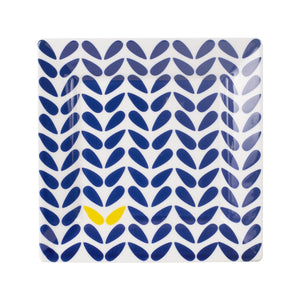Md Square White Plate With Blue And Yellow Pattern