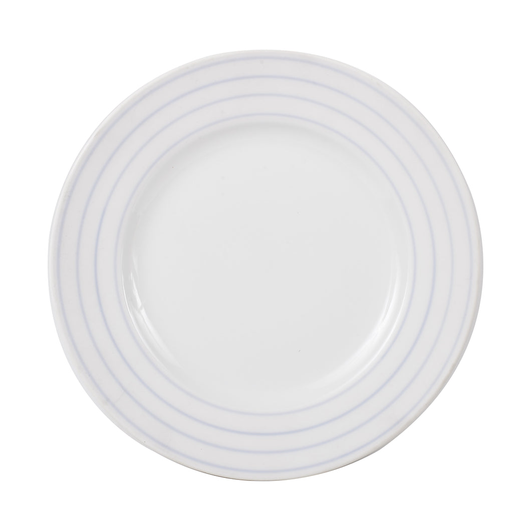 Lg White Plate With Blue Ring Pattern