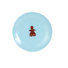 Md Light Blue Plate With Different Brown Christmas Designs