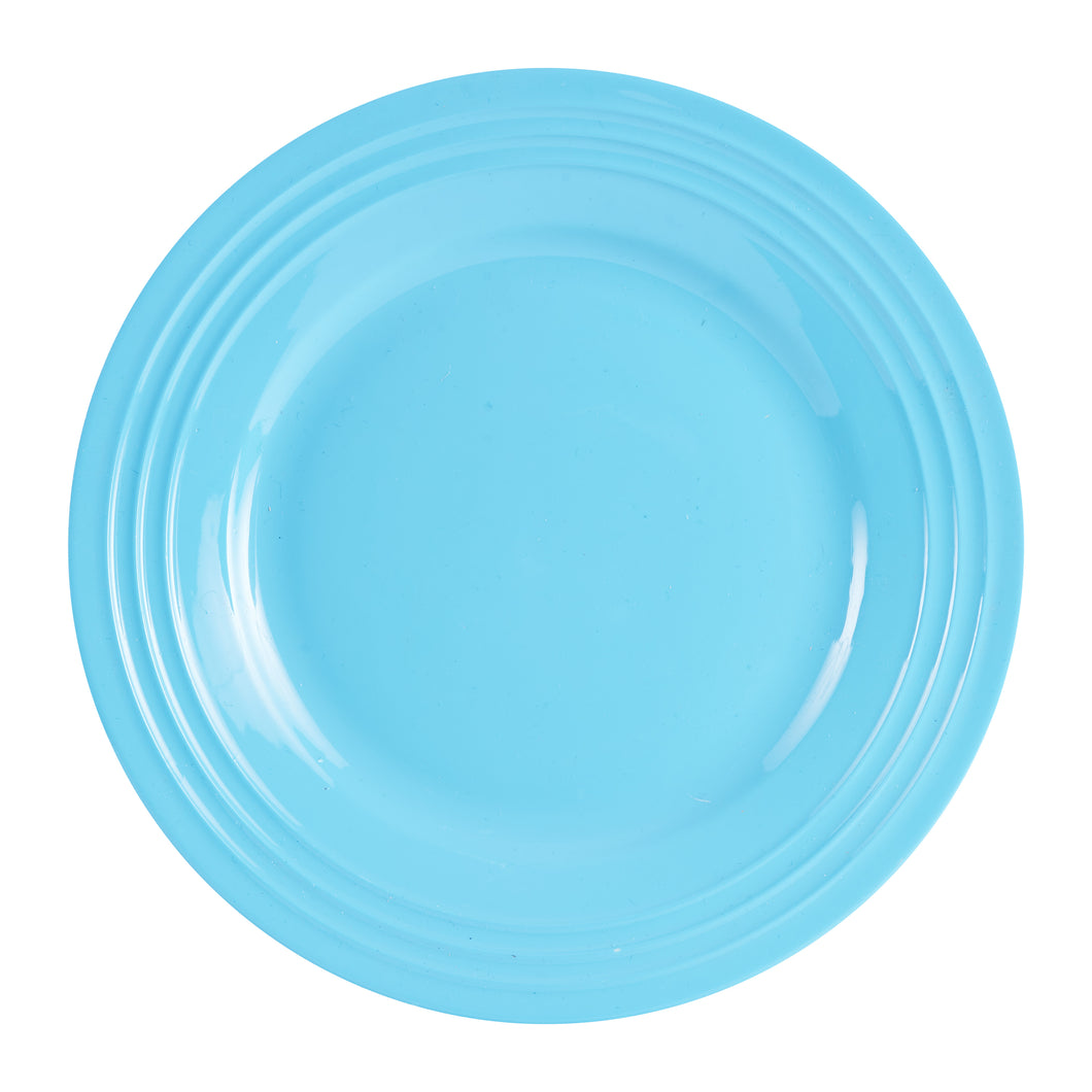 Lg Light Blue Plate With Textured Rim