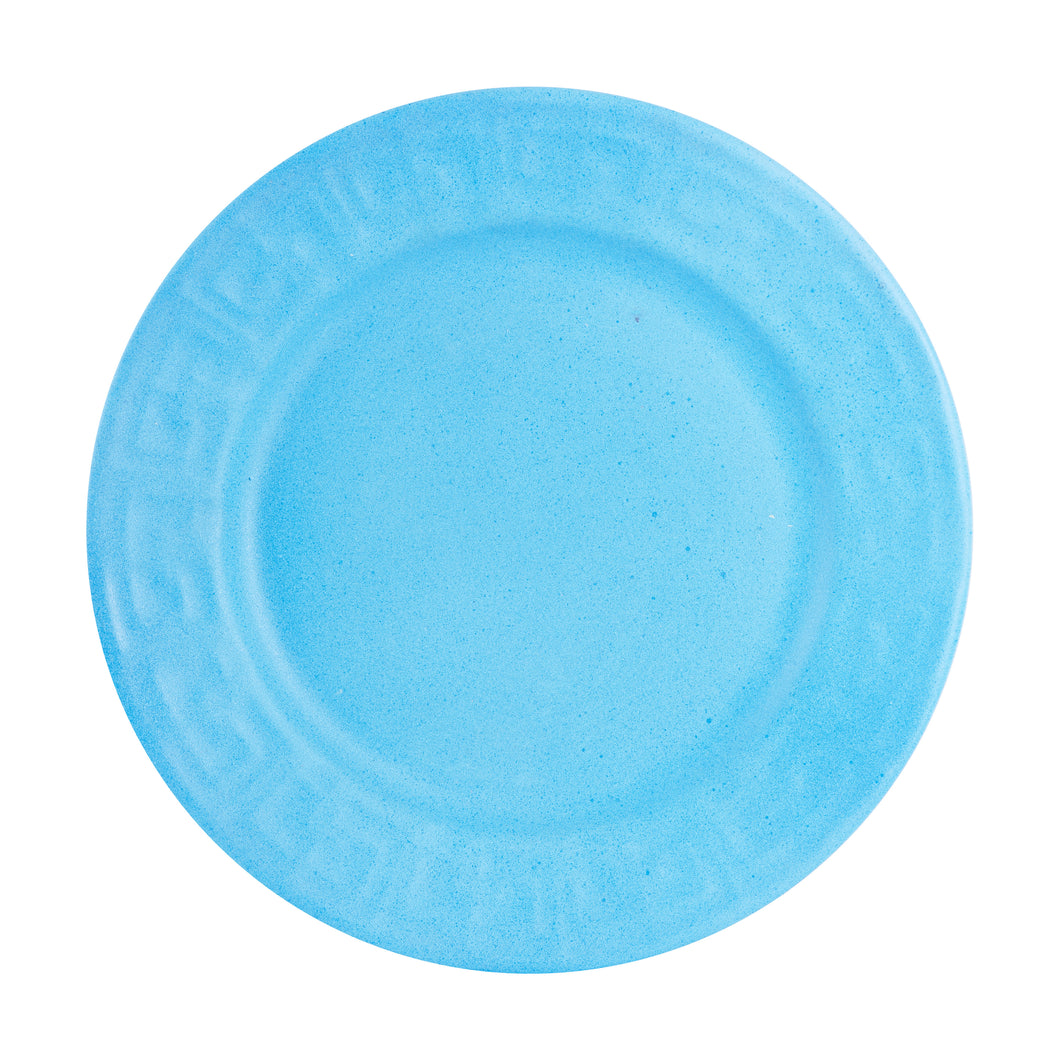 Lg Bright Matte Blue Plate With Textured Rim And Speckles