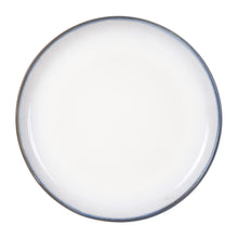 White Plate With Dark Rim And Grey/Blue Bottom