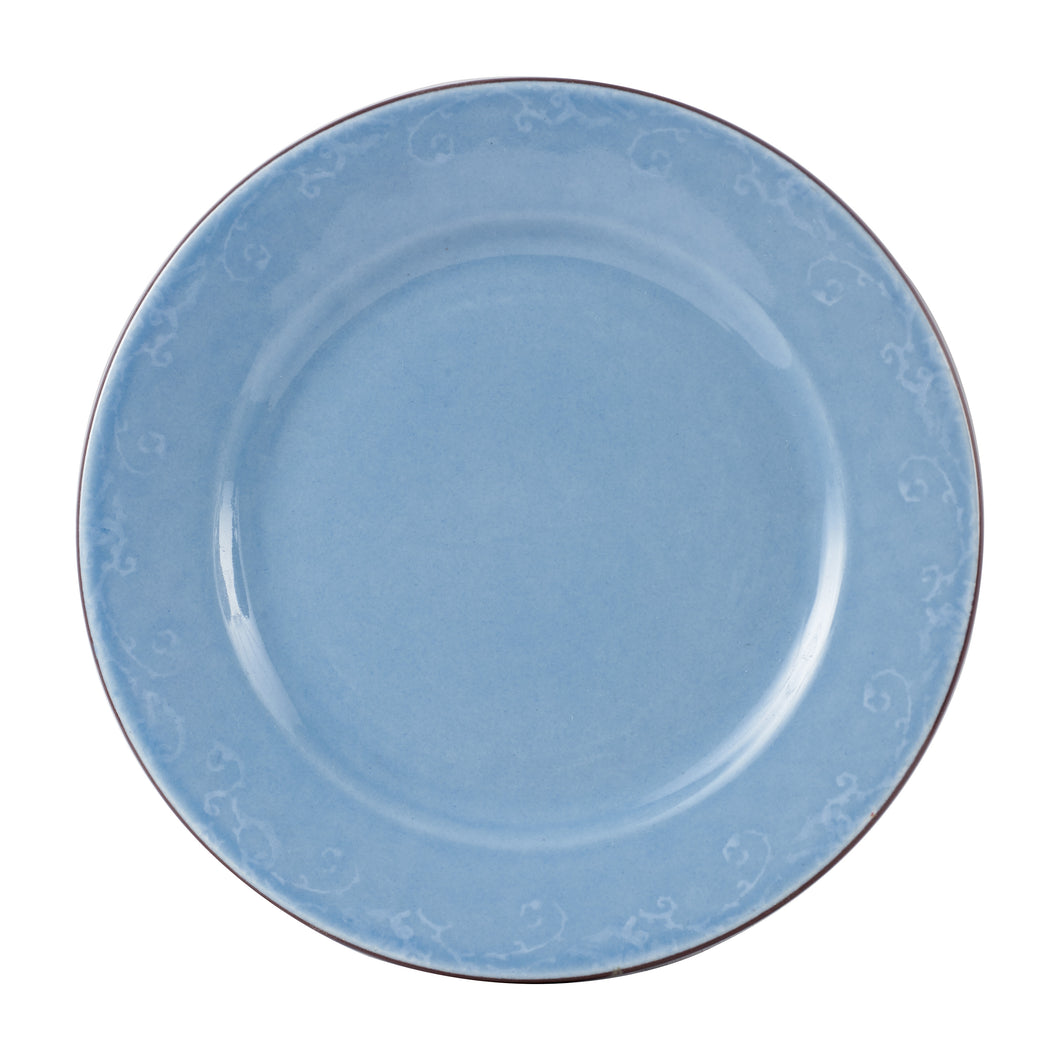 Lg Blue Plate With Dark Rim