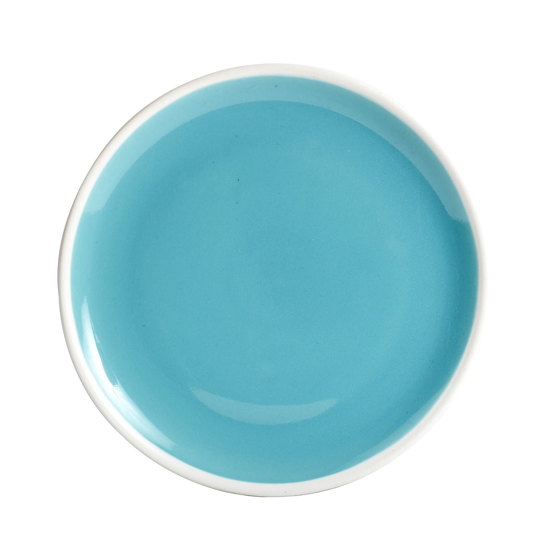 Lg Blue Plate With White Rim