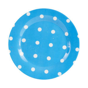 Md Bright Blue Plate With White Dots