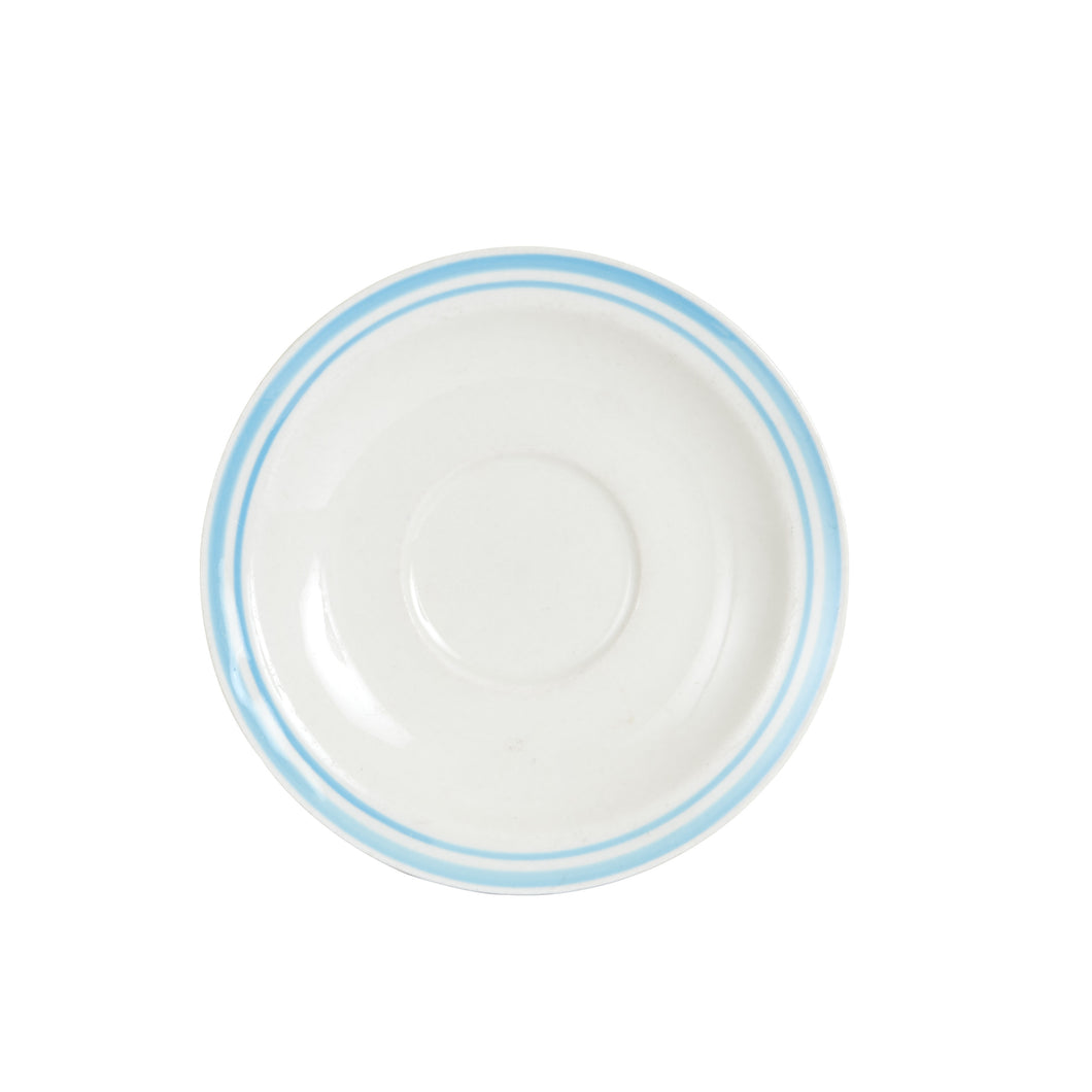Md White Plate With Light Blue Rings