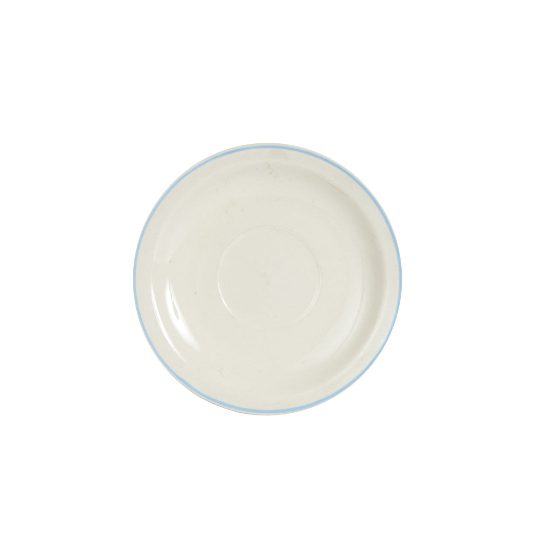 Md White Saucer With Light Blue Rim