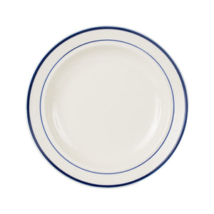 Md White Plate With Dark Blue Ring And Rim
