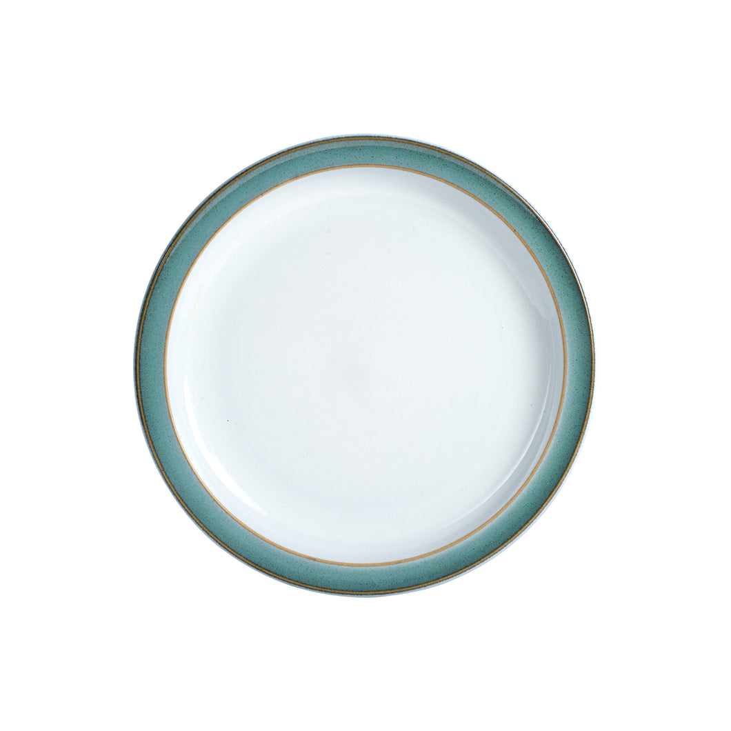 White Plate With Blue And Beige Rim