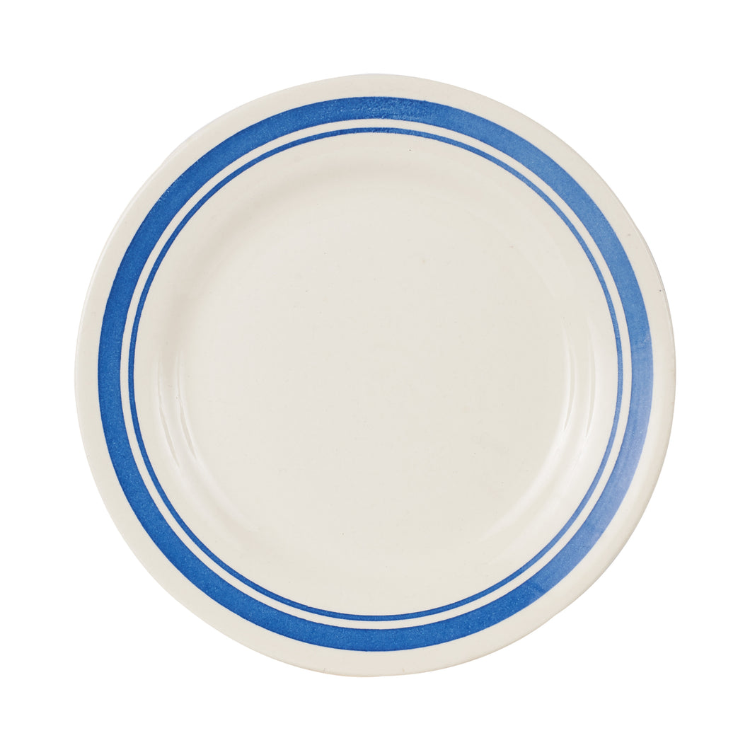 Md White Plate With Blue Rings