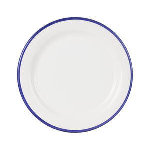 Md White Plate With Indigo Rim
