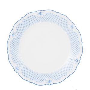 Lg White Plate With Blue Rim And Flower Design