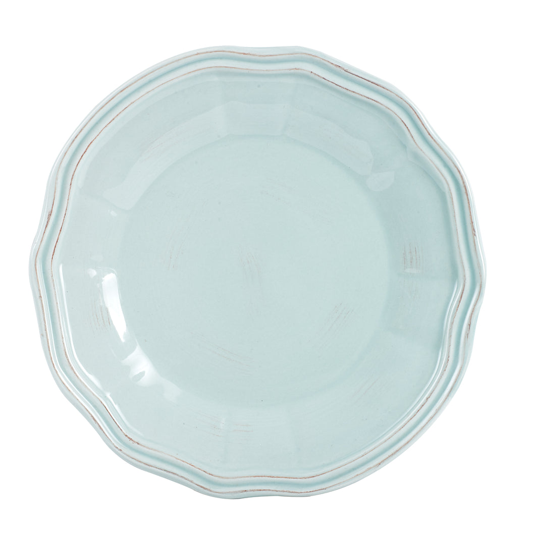 Lg Light Blue Plate With Flower Design