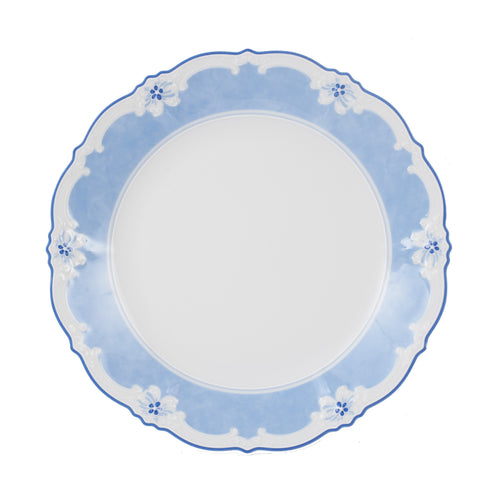 Md White Plate With Blue Flower Design