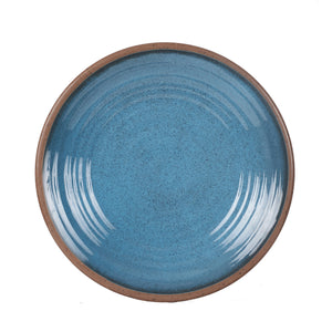 Lg Blue Speckled Plate With Brown Rim