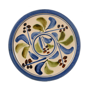 Lg Cream Plate With Blue Foliage Design And Rim