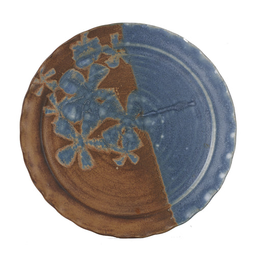 Lg Blue And Brown Plate With Flower Design