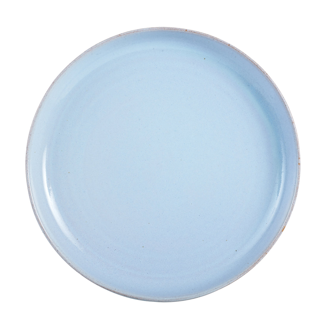 Lg Pale Blue Plate With Burnt Rim And Brown Bottom