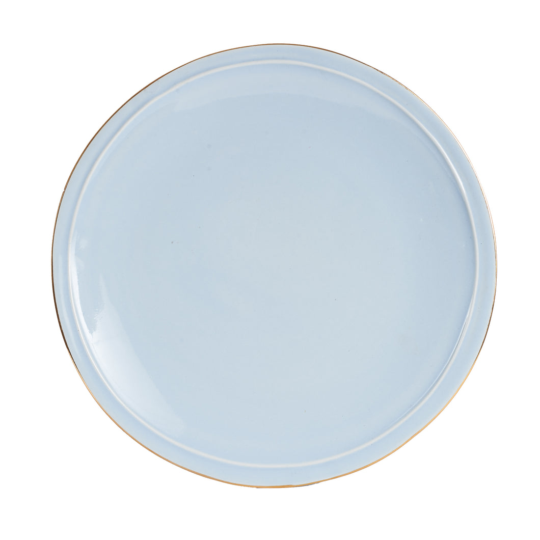 Lg Light Blue Plate With Gold Rim