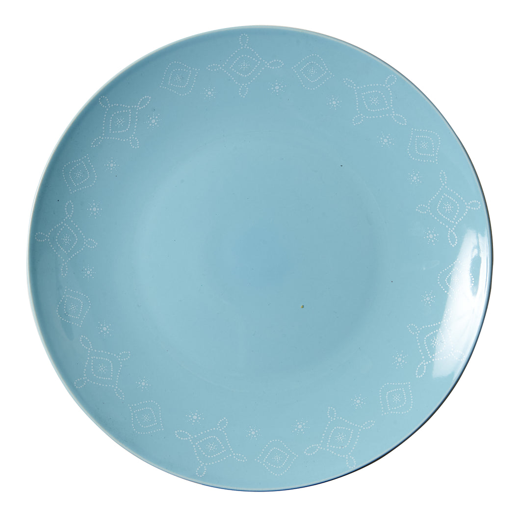 Lg Light Blue Plate With White Patterned Rim