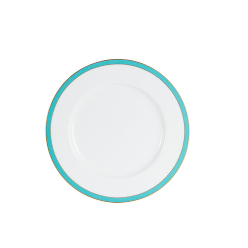 Lg White Plate With Blue/Green And Gold Rim